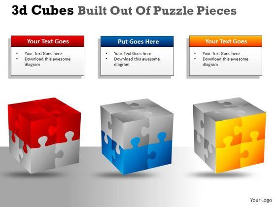 Marketing Diagram 3d Cubes Built Out Of Puzzle Pieces Strategy Diagram