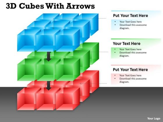 Marketing Diagram 3d Cubes With Arrows Ppt Business Diagram