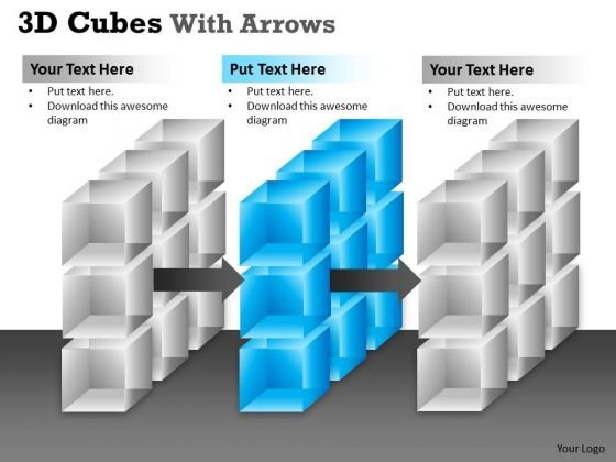 Marketing Diagram 3d Cubes With Arrows Strategic Management