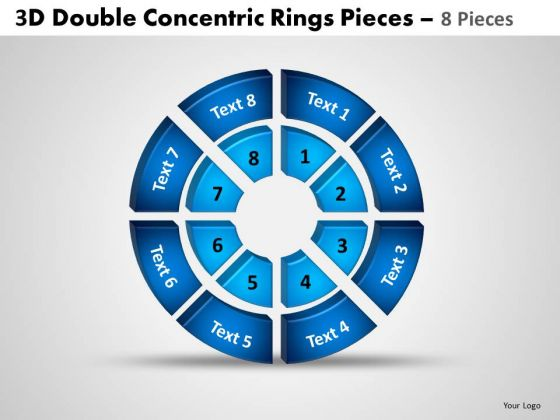 Marketing Diagram 3d Double Concentric Rings Pieces 2 Sales Diagram