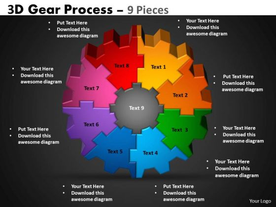 Marketing Diagram 3d Gear Process 9 Pieces Business Framework Model