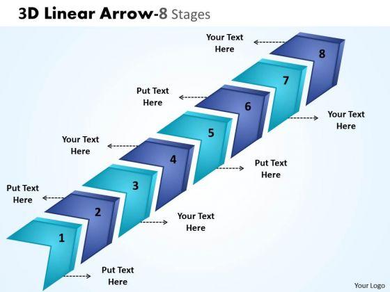 Marketing Diagram 3d Linear Arrow 8 Stages Sales Diagram
