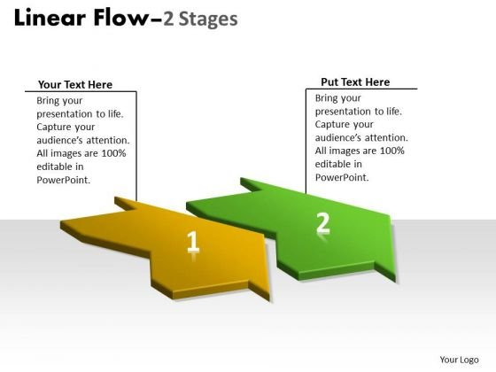 Marketing Diagram 3d Linear Flow 2 Stages