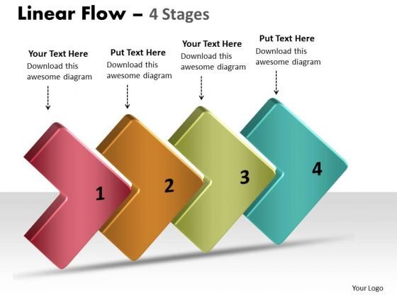 Marketing Diagram 3d Linear Flow 4 Stages Strategy Diagram
