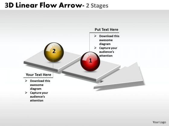 Marketing Diagram 3d Linear Flow Arrow 2 Stages