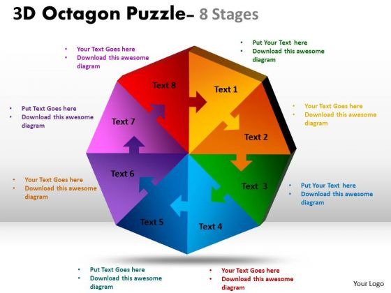 Marketing Diagram 3d Octagon Diagram Puzzle Process Consulting Diagram