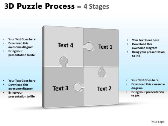Marketing Diagram 3d Puzzle Process Stages 4 Strategy Diagram