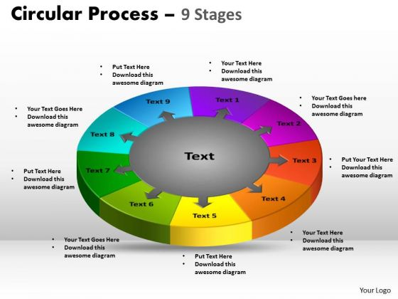 Marketing Diagram 9 Stages Circular Process Business Framework Model