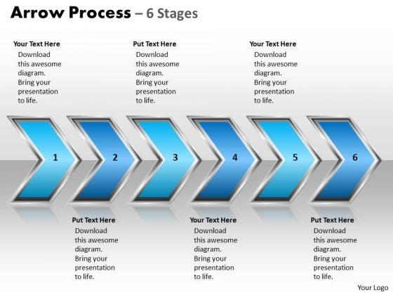 Marketing Diagram Arrow Process 6 Stages Style 2 Business Finance Strategy Development