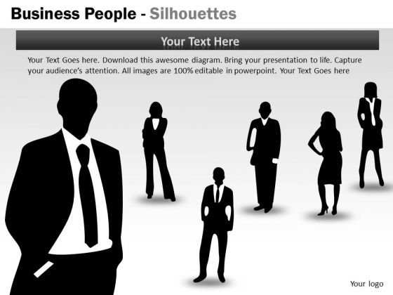 Marketing Diagram Business People Silhouettes Business Framework Model