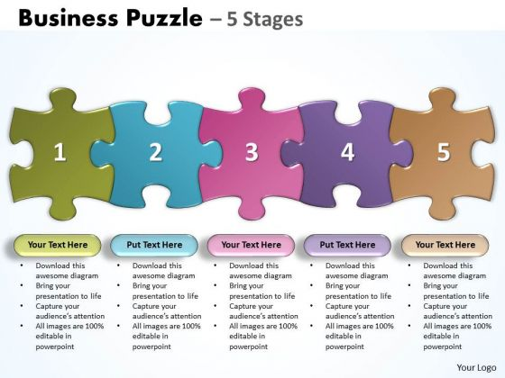 Marketing Diagram Business Puzzle 5 Stages Consulting Diagram