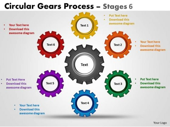 Marketing Diagram Circular Gears Process Diagrams Stages Consulting Diagram
