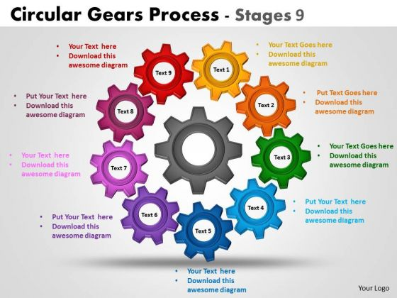 Marketing Diagram Circular Gears Process Stages Strategy Diagram