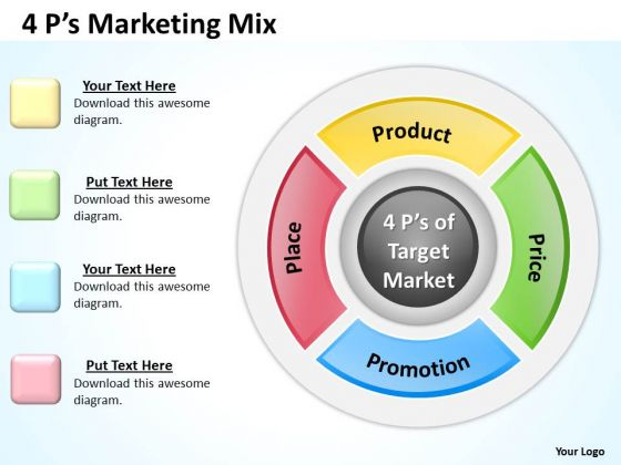 Marketing Diagram Circular Marketing Mix Business Diagram