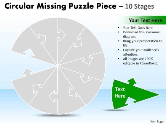 Marketing Diagram Circular Missing Puzzle Piece 10 Stages Consulting Diagram