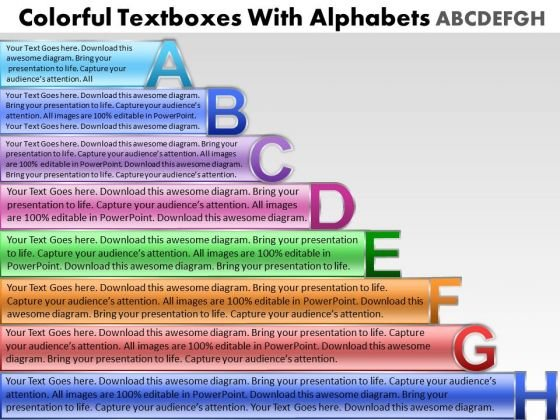 Marketing Diagram Colorful Text Boxes With Alphabets Abcdefgh Sales Diagram