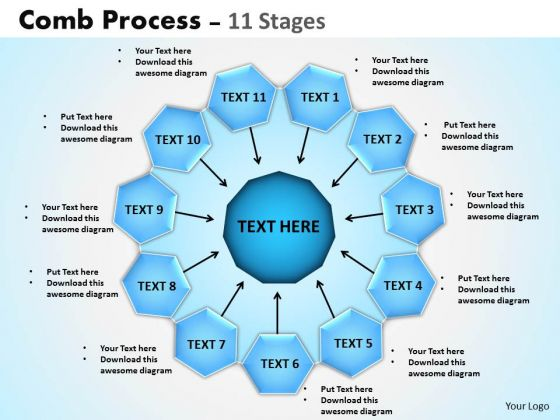 Marketing Diagram Comb Process 11 Stages Business Diagram