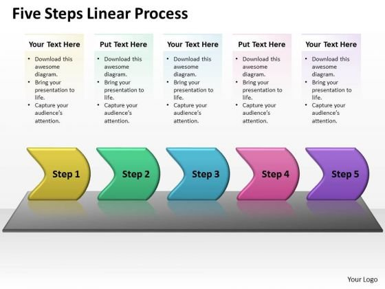 Marketing Diagram Five Steps Linear Process Business Finance Strategy Development