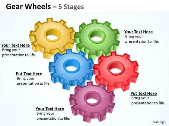 Marketing Diagram Gear Wheel 5 Stages Business Finance Strategy Development
