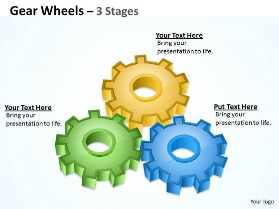 Marketing Diagram Gear Wheels 3 Stages Business Framework Model