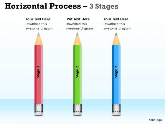 Marketing Diagram Horizontal Process 3 Stages Sales Diagram