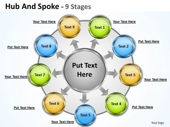 Marketing Diagram Hub And Spoke 9 Stages Business Diagram