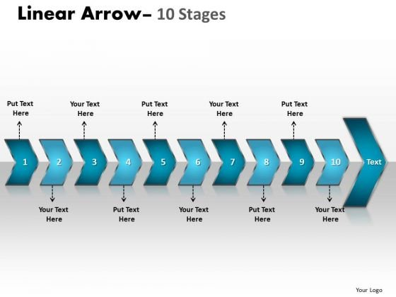 Marketing Diagram Linear Arrow 10 Stages Sales Diagram