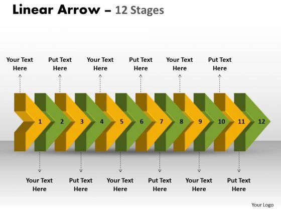 Marketing Diagram Linear Arrow 12 Stages 2 Sales Diagram