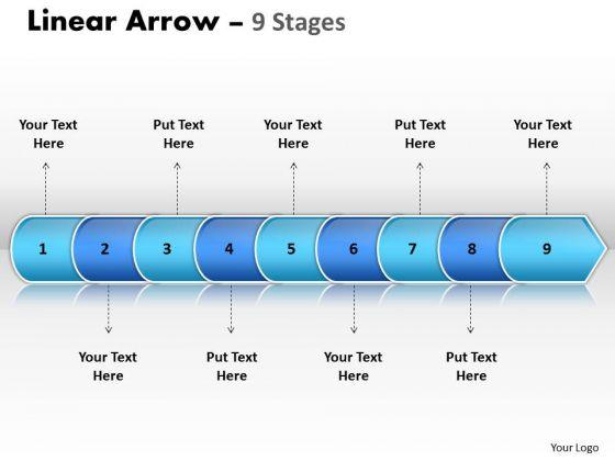 Marketing Diagram Linear Arrow 9 Stages Strategy Diagram