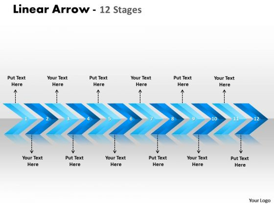 Marketing Diagram Linear Arrows 12 Stages Consulting Diagram