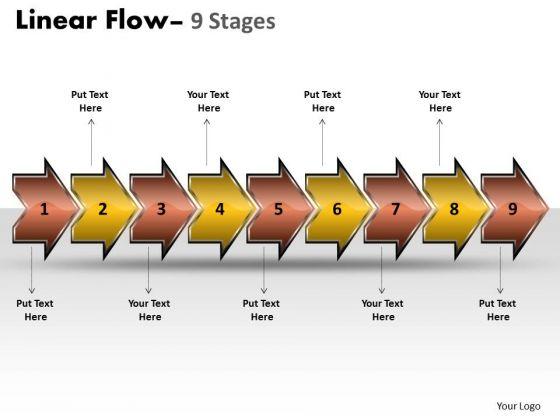 Marketing Diagram Linear Flow Arrow 9 Stages Business Finance Strategy Development