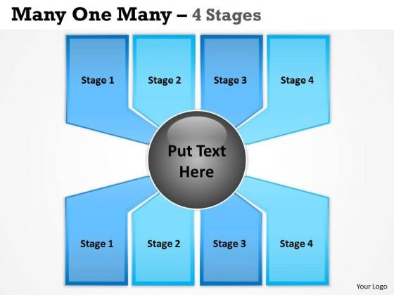 Marketing Diagram Many One Many Process 4 Stages Consulting Diagram