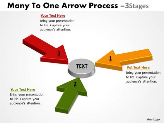 Marketing Diagram Many To One Arrow Process 3 Stages