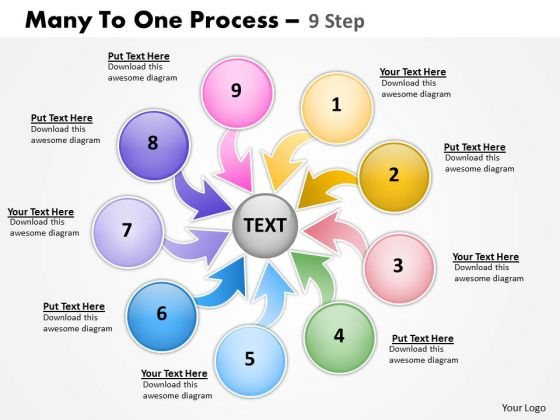 Marketing Diagram Many To One Process 9 Step Consulting Diagram