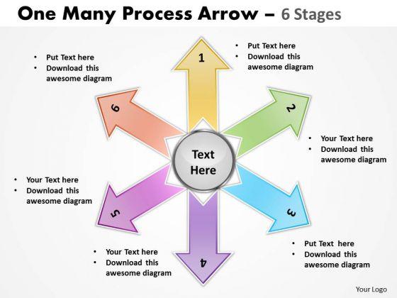 Marketing Diagram One Many Process Arrow 6 Stages Business Framework Model