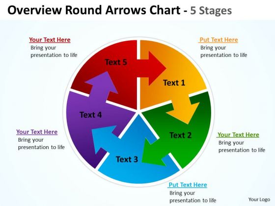 Marketing Diagram Overview Round Diagram Colorful Arrows Chart 5 Stages Consulting Diagram