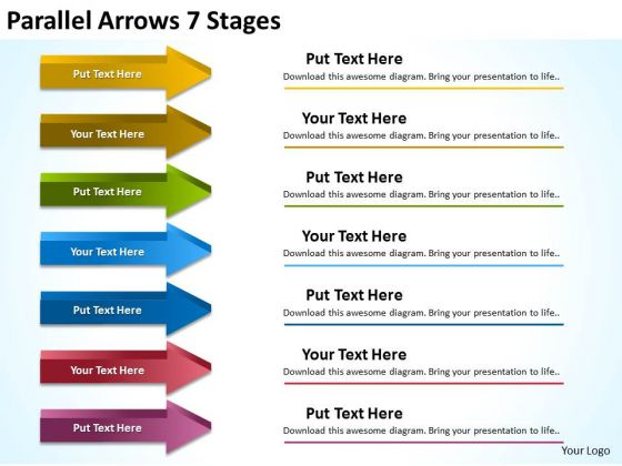 Marketing Diagram Parallel Arrows 7 Stages Sales Diagram