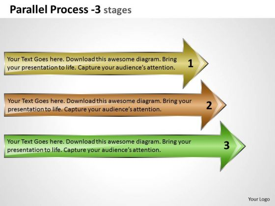 Marketing Diagram Parallel Process 3 Stages Strategy Diagram
