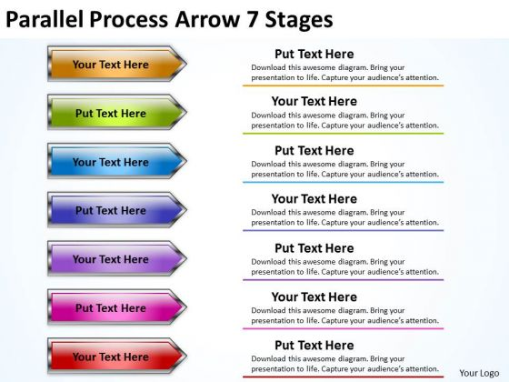 Marketing Diagram Parallel Process Arrow 7 Stages Sales Diagram