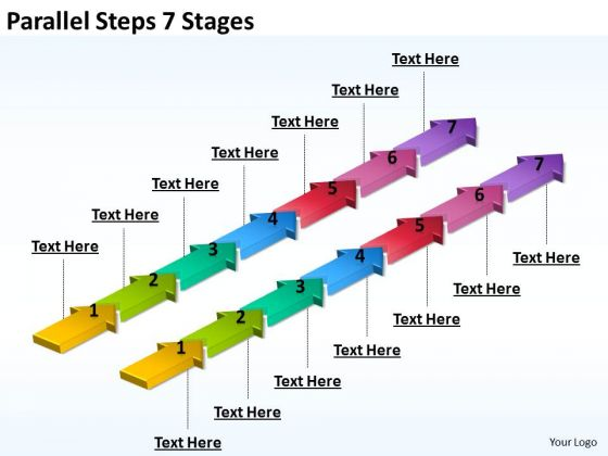 Marketing Diagram Parallel Steps 7 Stages Business Diagram