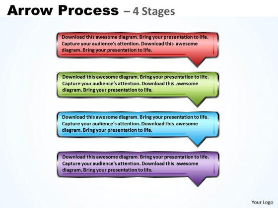 Marketing Diagram Rectangle Arrow 4 Steps Strategy Diagram