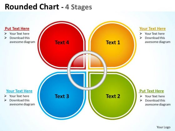 Marketing Diagram Rounded Chart With 4 Stages Strategic Management