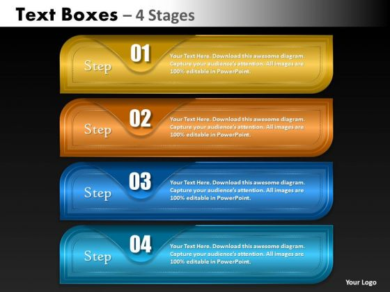 Marketing Diagram Textboxes 4 Stages Strategy Diagram