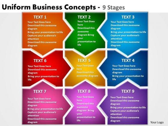 Marketing Diagram Uniform Business Concepts 9 Stages Business Finance Strategy Development
