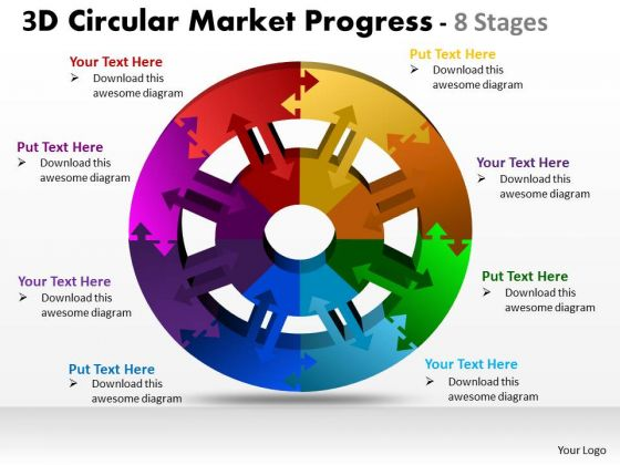 Mba Models And Frameworks 3d Circular Market Progress 8 Stages Consulting Diagram