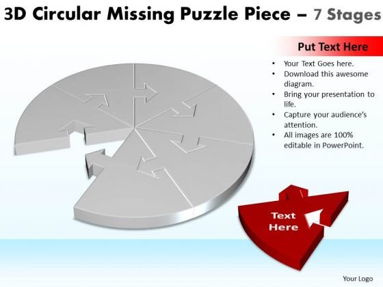 Mba Models And Frameworks 3d Circular Missing Puzzle Piece 7 Stages Business Diagram