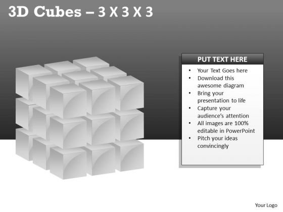 Mba Models And Frameworks 3d Cubes 3x3x3 Sales Diagram