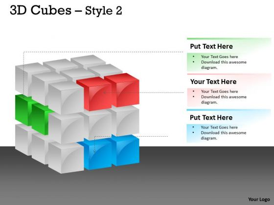 Mba Models And Frameworks 3d Cubes Broken Style Marketing Diagram