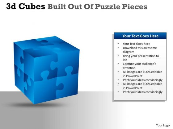 Mba Models And Frameworks 3d Cubes Built Out Of Puzzle Pieces Consulting Diagram