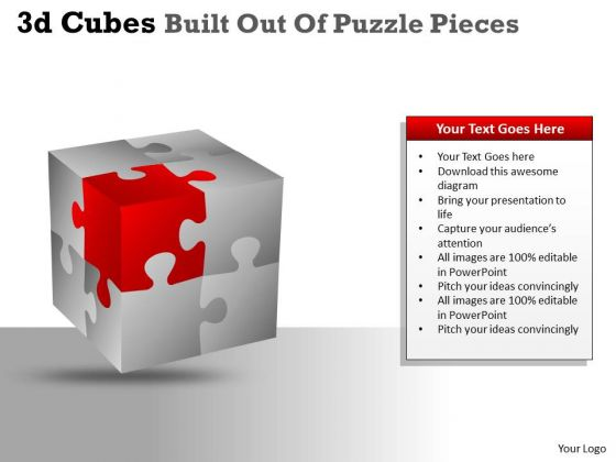 Mba Models And Frameworks 3d Cubes Built Out Of Puzzle Pieces Marketing Diagram